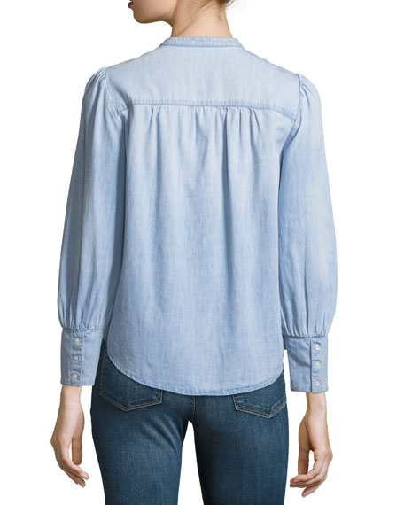 Aubrielle Button-Front Long-Sleeve Chambray Top