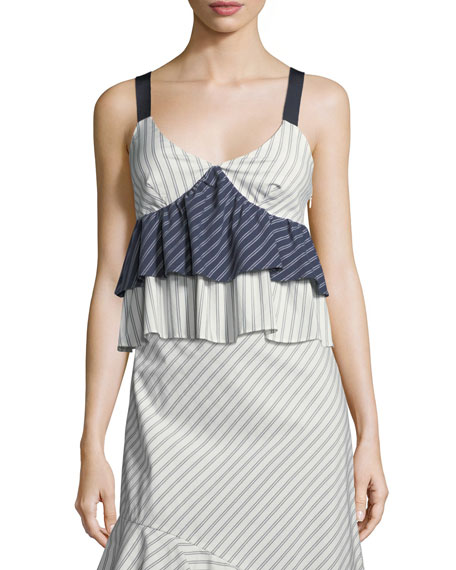 Joie Marjie V-Neck Sleeveless Tiered Striped Top