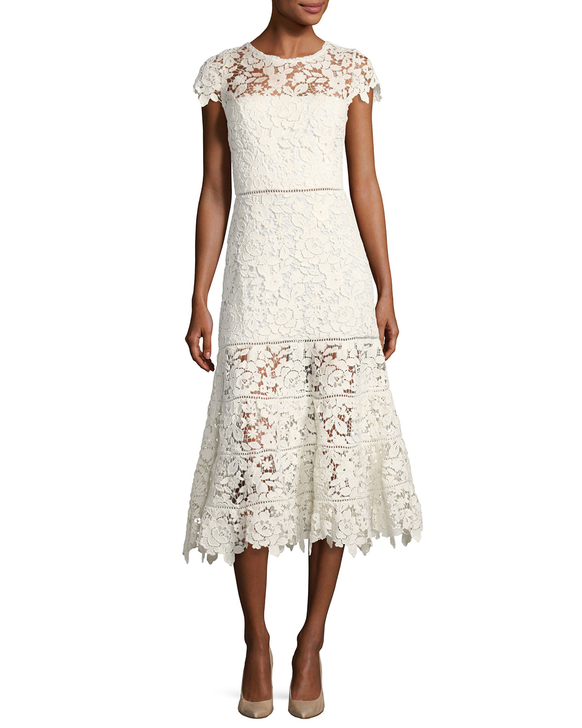 Joie Celedonia Round-Neck Fit-and-Flare Lace Guipure Midi Dress ...