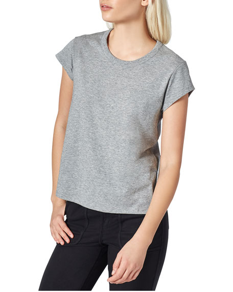 Joie Delzia Crewneck Short-Sleeve Pima Cotton Tee and