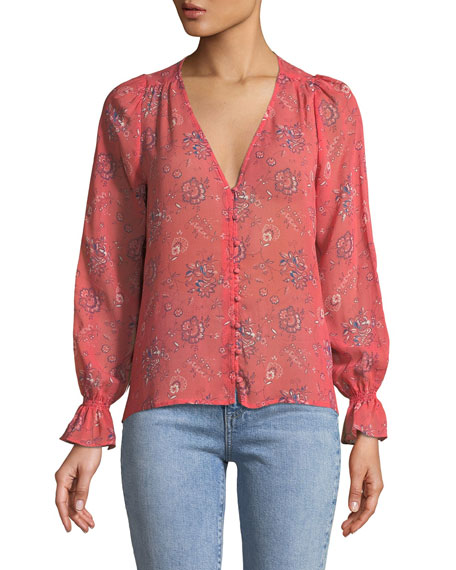 Joie Bolona B Long-Sleeve Silk Button-Front Top