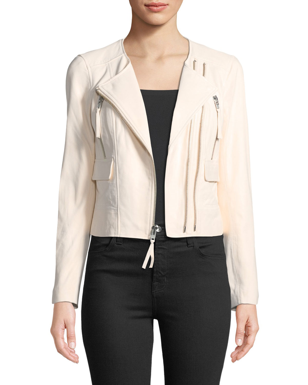 Joie Vivianette Cropped Leather Moto Jacket | Neiman Marcus