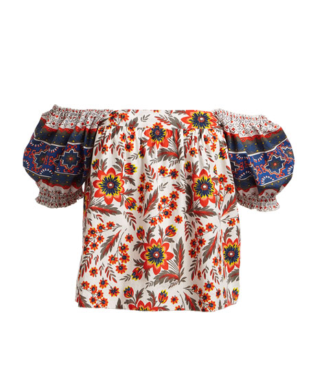 Cleona Pouf-Sleeve Floral-Print Cotton Top