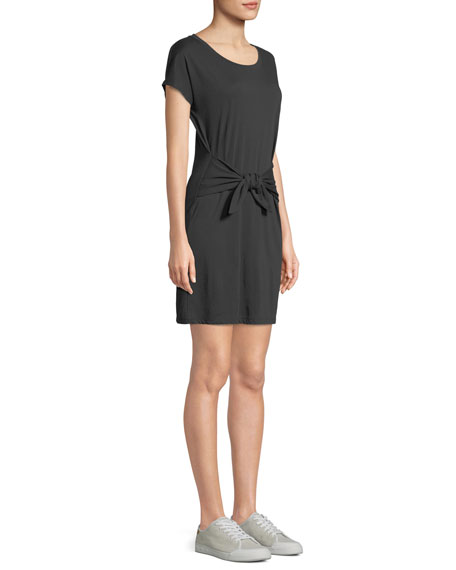 Alyra Tie-Front Crewneck Tee Dress