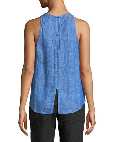 Dany Sleeveless Button-Back Linen Top