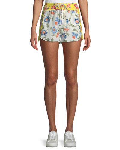 Deodata Drawstring Floral-Print Silk Shorts