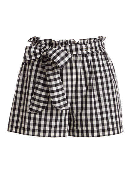 Cleantha Check Cotton Tie-Waist Shorts
