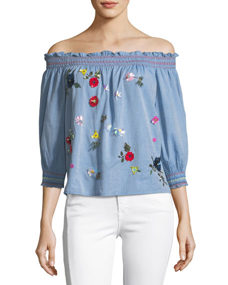 Citra Off-the-Shoulder Denim Top with Sequin Appliques