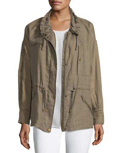 Filotea Zip-Front Linen Jacket