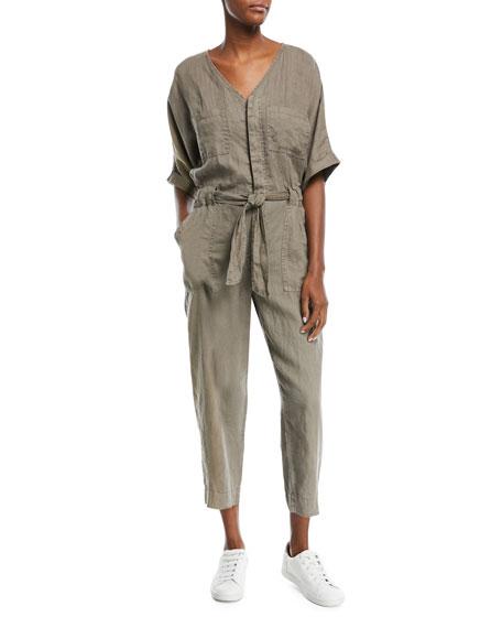 Joie Frodina Elbow-Sleeve Straight-Leg Linen Jumpsuit