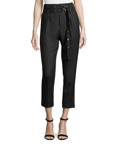 Iro Lana High-Waist Straight-Leg Wool Ankle Pants
