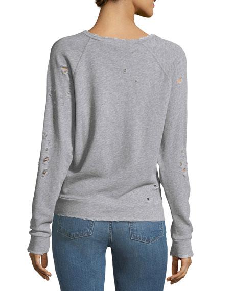 Uprile Crewneck Distressed Pullover Sweatshirt