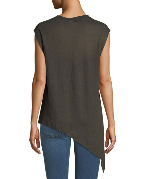 Crewneck Asymmetric Linen Top with Lace-Up Detail