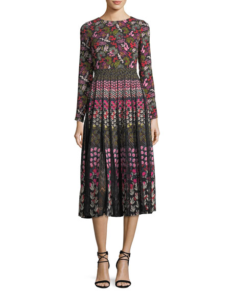 Nuri Long-Sleeve Floral-Print Midi Dress with Lace Inserts