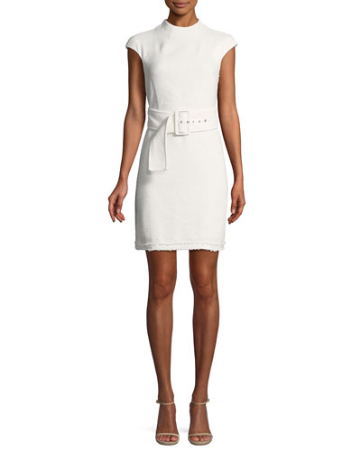 Mod Belted Spring Boucle Dress