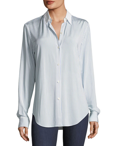 Essential Button-Down Jersey Double-Stripe Shirt