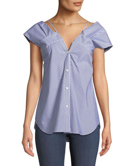 Off-the-Shoulder Button-Down Hartman Stripe Blouse