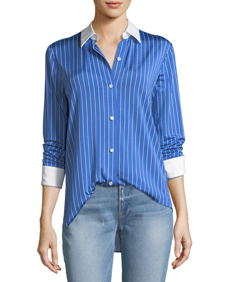 Essential Button-Down Jersey Striped Blouse