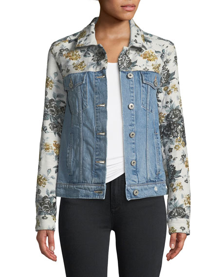 Harrison Button-Front Denim Jacket with Floral Embossing