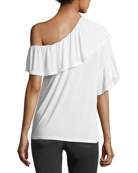 Pax One-Shoulder Ruffle Jersey Top
