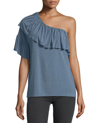 Pax One-Shoulder Ruffled Jersey Top