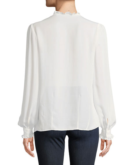 Honor Button-Front Silk Blouse