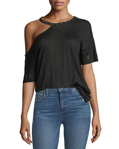 Eliana Short-Sleeve Linen Tee with Grommets