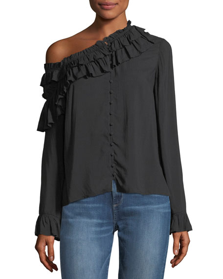 Augustina Button-Front Long-Sleeve Blouse