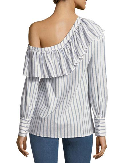 Halsey One-Shoulder Ruffle Striped Poplin Blouse