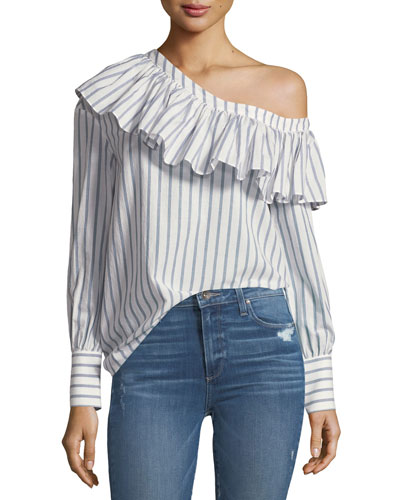 Halsey One-Shoulder Ruffle Striped Poplin Blouse