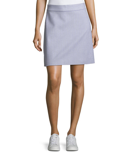High Waist A Line Striped Stretch Wool Skirt by Theory