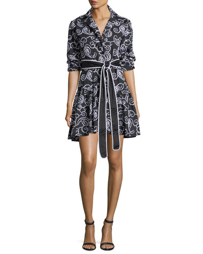 Tamara Belted Swirl-Embroidered Fit-and-Flare Short Dress