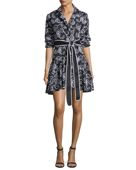 Alexis Tamara Belted Swirl-Embroidered Fit-and-Flare Short Dress