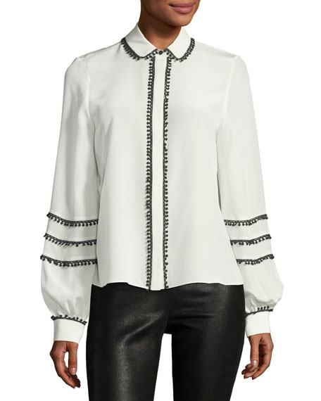 Baylee Button-Front Silk Top with Pompom Trim