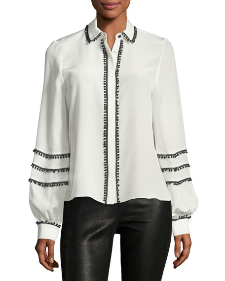 Alexis Baylee Button-Front Silk Top with Pompom Trim