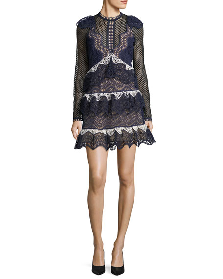 Self-Portrait Wave-Guipure Lace Mini Cocktail Dress
