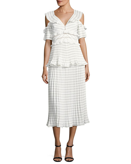 polka dot asymmetric dress - White Self Portrait