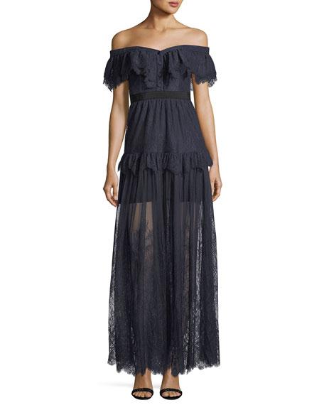 Self-Portrait Off-the-Shoulder Fine Lace Cocktail Maxi Dress