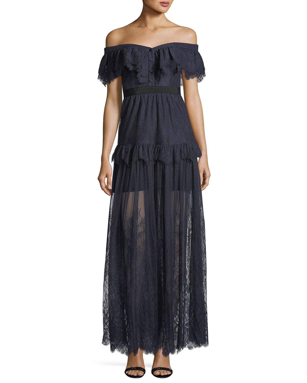 f82d12003f Self-Portrait Off-the-Shoulder Fine Lace Cocktail Maxi Dress ...