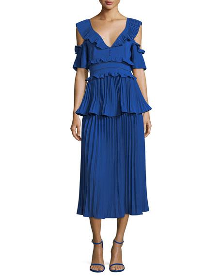 Pleated Frills Midi Cocktail Dress