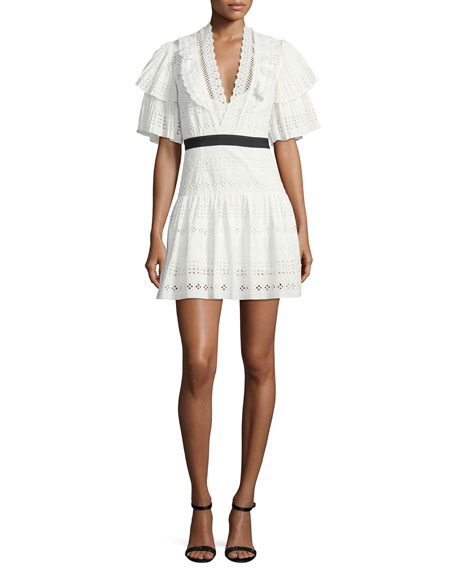 Self-Portrait Broderie Anglaise Striped Cotton Cocktail Dress