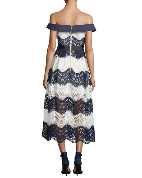 Off-the-Shoulder Wave Guipure Midi Dress