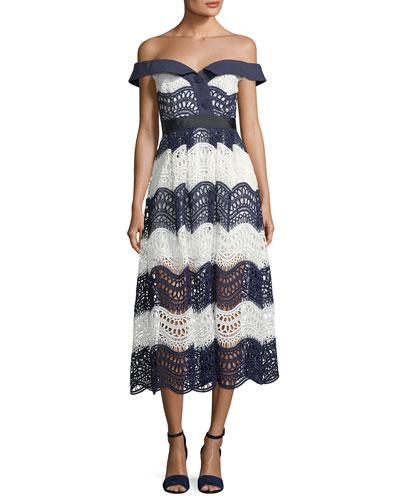 Off-the-Shoulder Wave Guipure Midi Dress