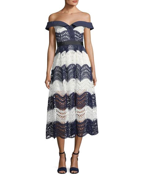 Self-Portrait Off-the-Shoulder Wave Guipure Midi Dress