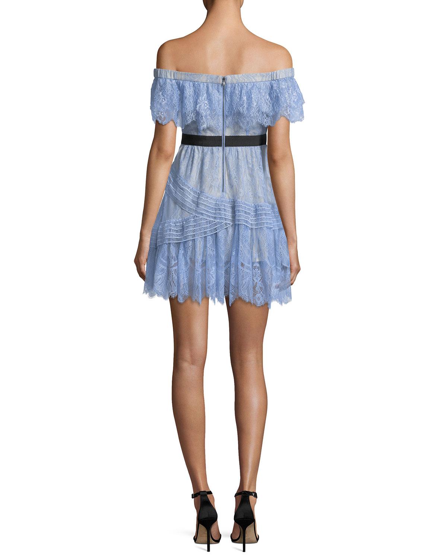 e6831376affb4 Self-Portrait Off-the-Shoulder Fine Lace Mini Dress | Neiman Marcus