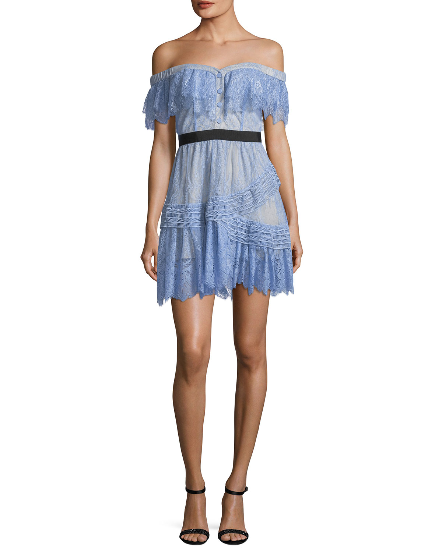 75cbe11a4828 Self-Portrait Off-the-Shoulder Fine Lace Mini Dress