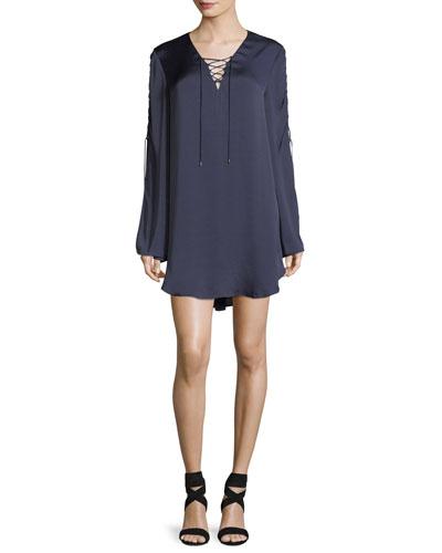 Caravan Lace-Up Long-Sleeve Satin Shift Dress
