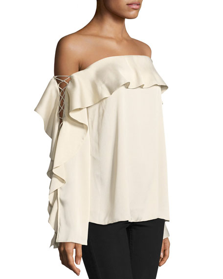 One-Wish Off-the-Shoulder Ruffled Blouse