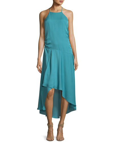 The Marina Halter Sleeveless Silk Dress