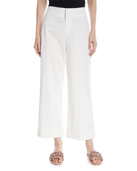 Alice + Olivia Knox High-Waist Wide-Leg Ankle Pants